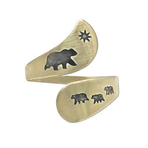 Mama and Cubs Adjustable Ring, Antique Brass, daphne lorna