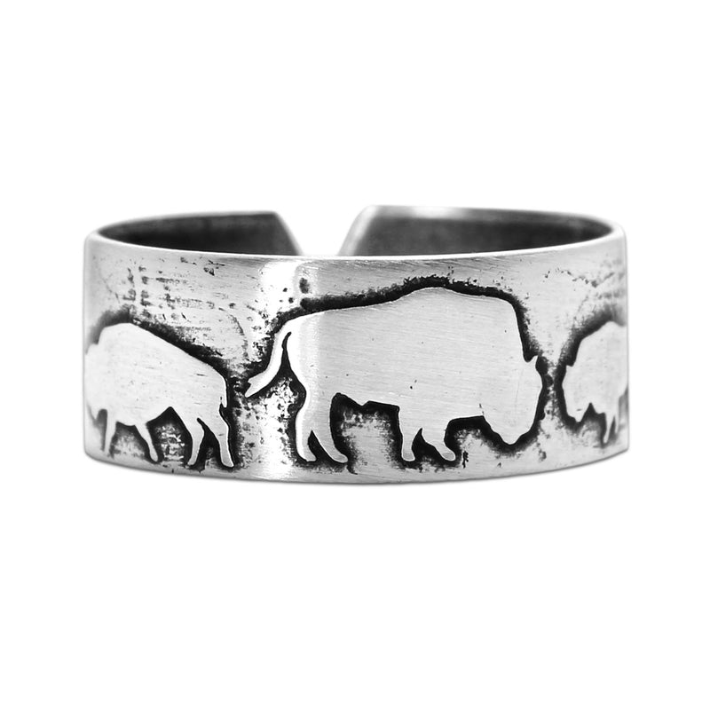 Bison Circles Adjustable Ring, Matte Silver / One Size, daphne lorna