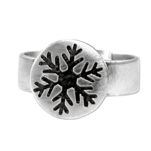 Snowflake Adjustable Ring, Matte Silver, daphne lorna