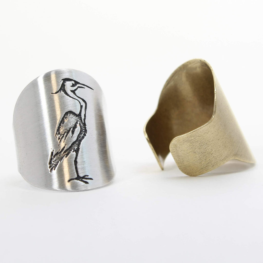 Blue Heron Adjustable Ring - Daphne Lorna Jewelry
