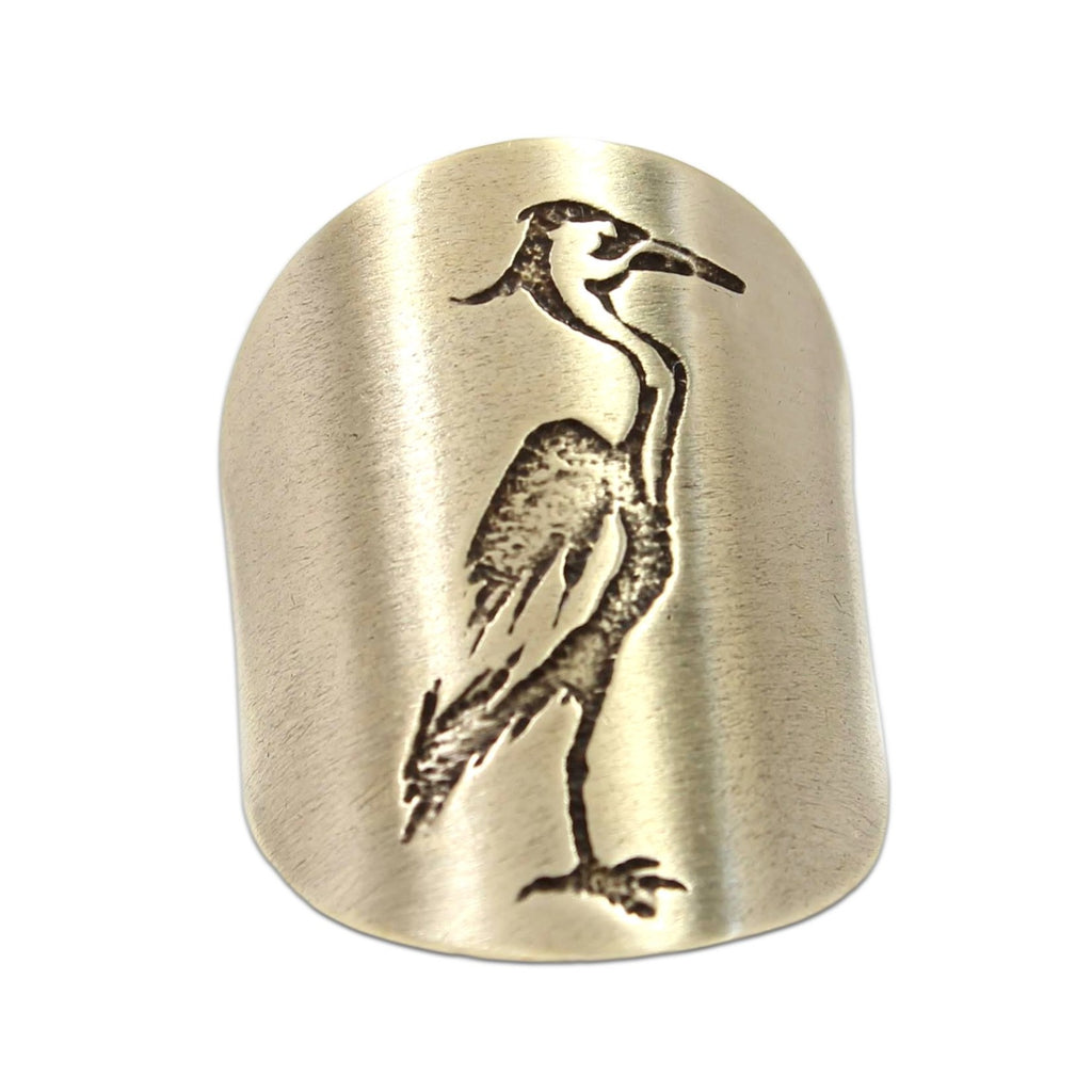 Blue Heron Adjustable Ring, Antique Brass, daphne lorna