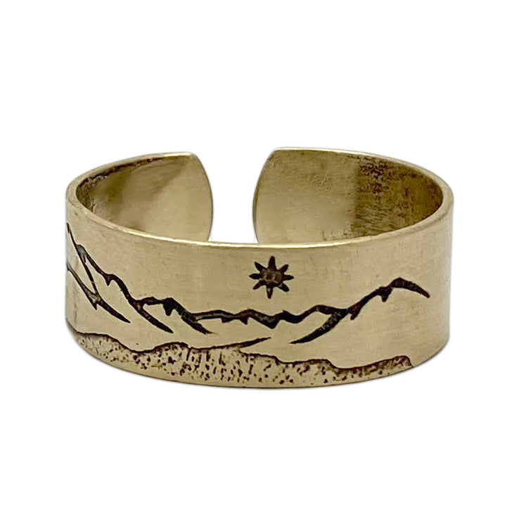St. Mary Lake Adjustable Ring, Antique Brass, daphne lorna