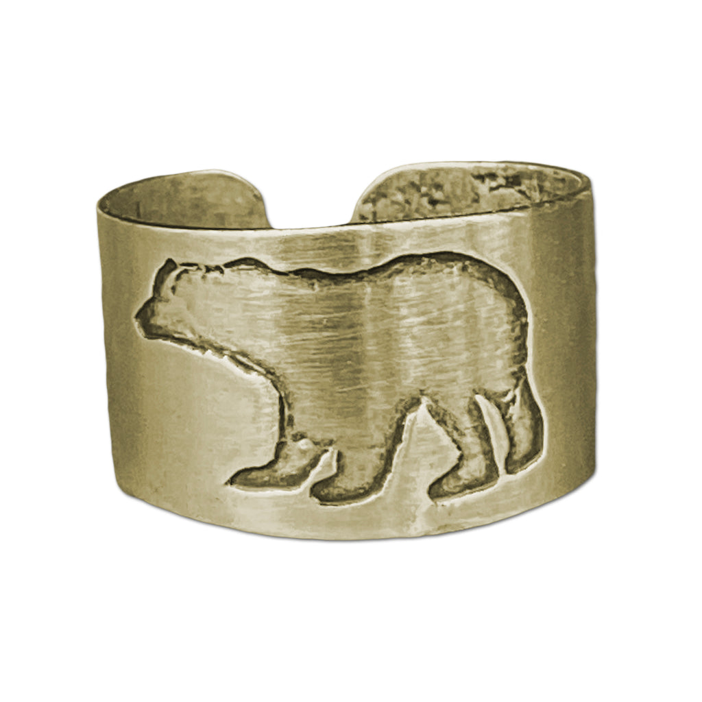 Polar Bear Adjustable Ring, Antique Brass, daphne lorna