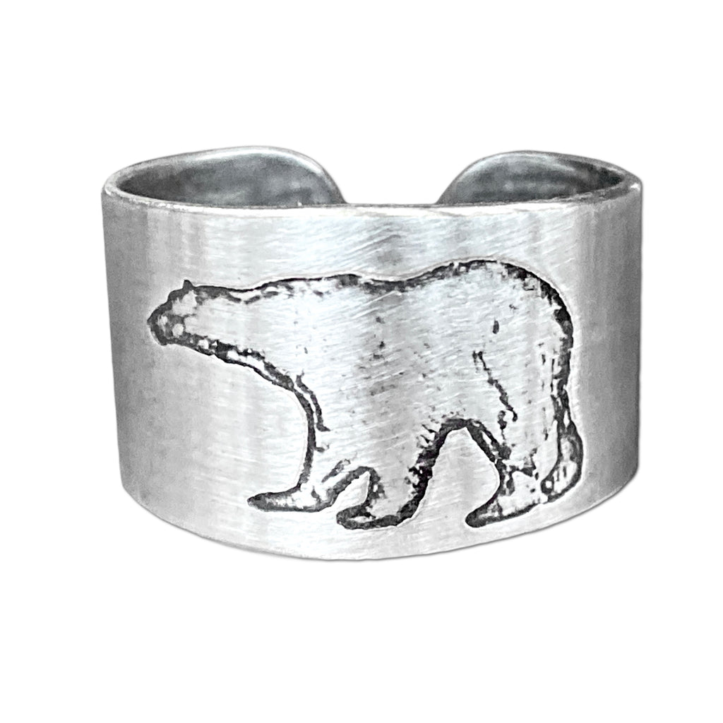 Polar Bear Adjustable Ring, Matte Silver, daphne lorna