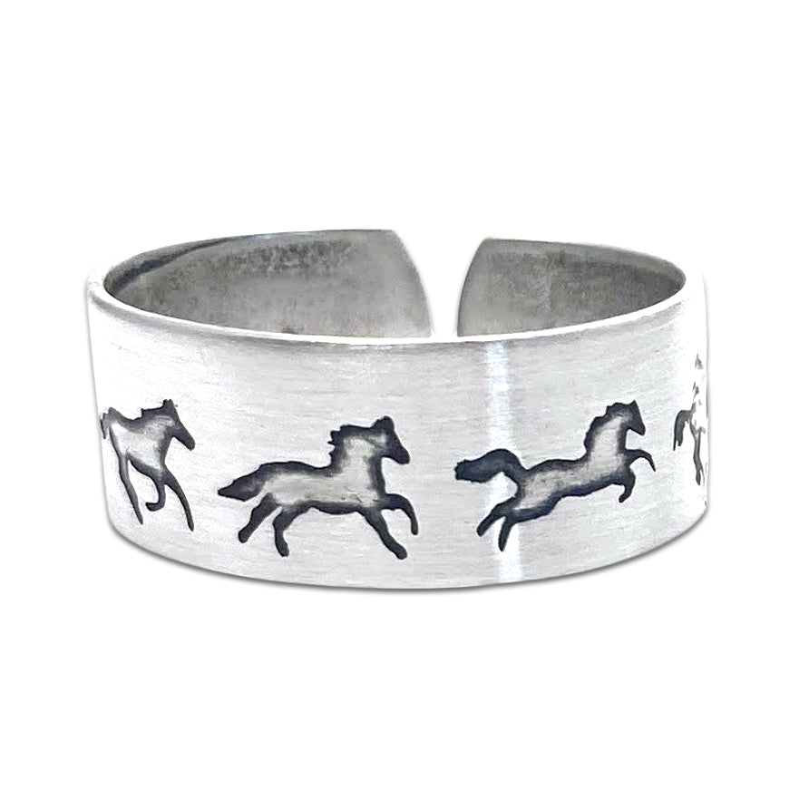 Wild Horses Adjustable Ring, Matte Silver, daphne lorna