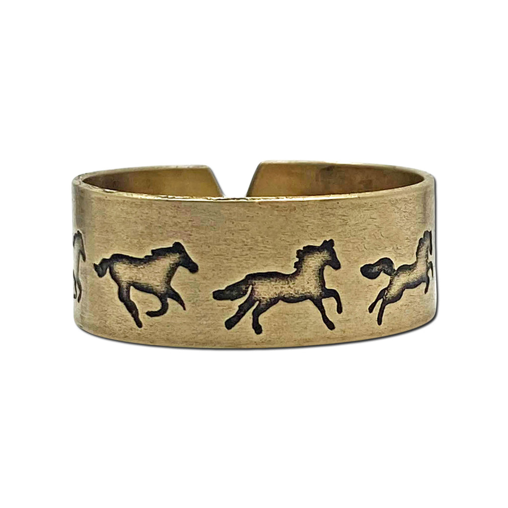 Wild Horses Adjustable Ring, Antique Brass, daphne lorna