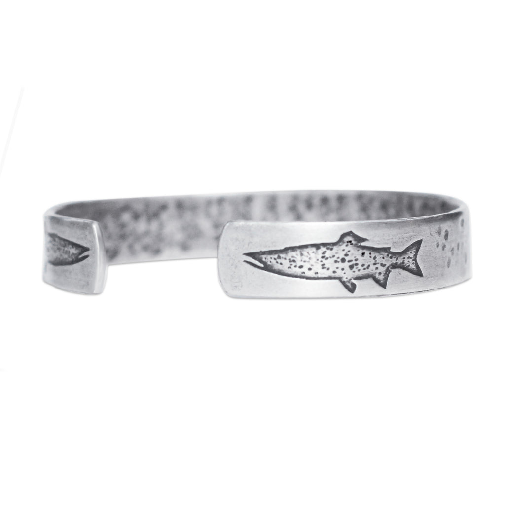 Trout on Tips Cuff Bracelet, Matte Silver / Women's, daphne lorna