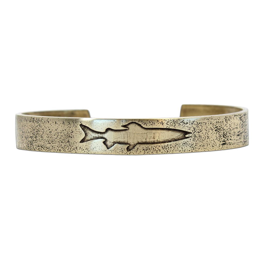 Single Trout Cuff Bracelet, Antique Brass / Women's, daphne lorna