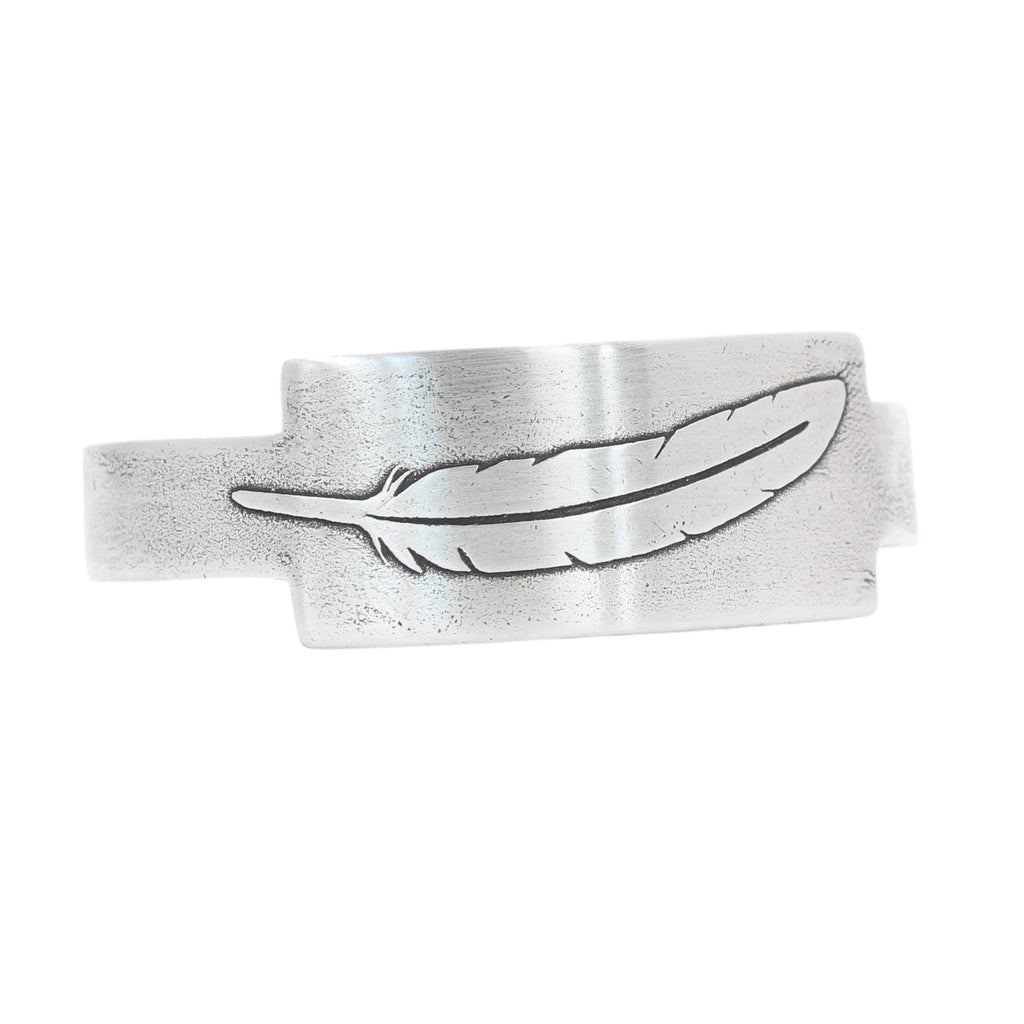 Single Feather Rectangular Cuff Bracelet - Daphne Lorna Jewelry