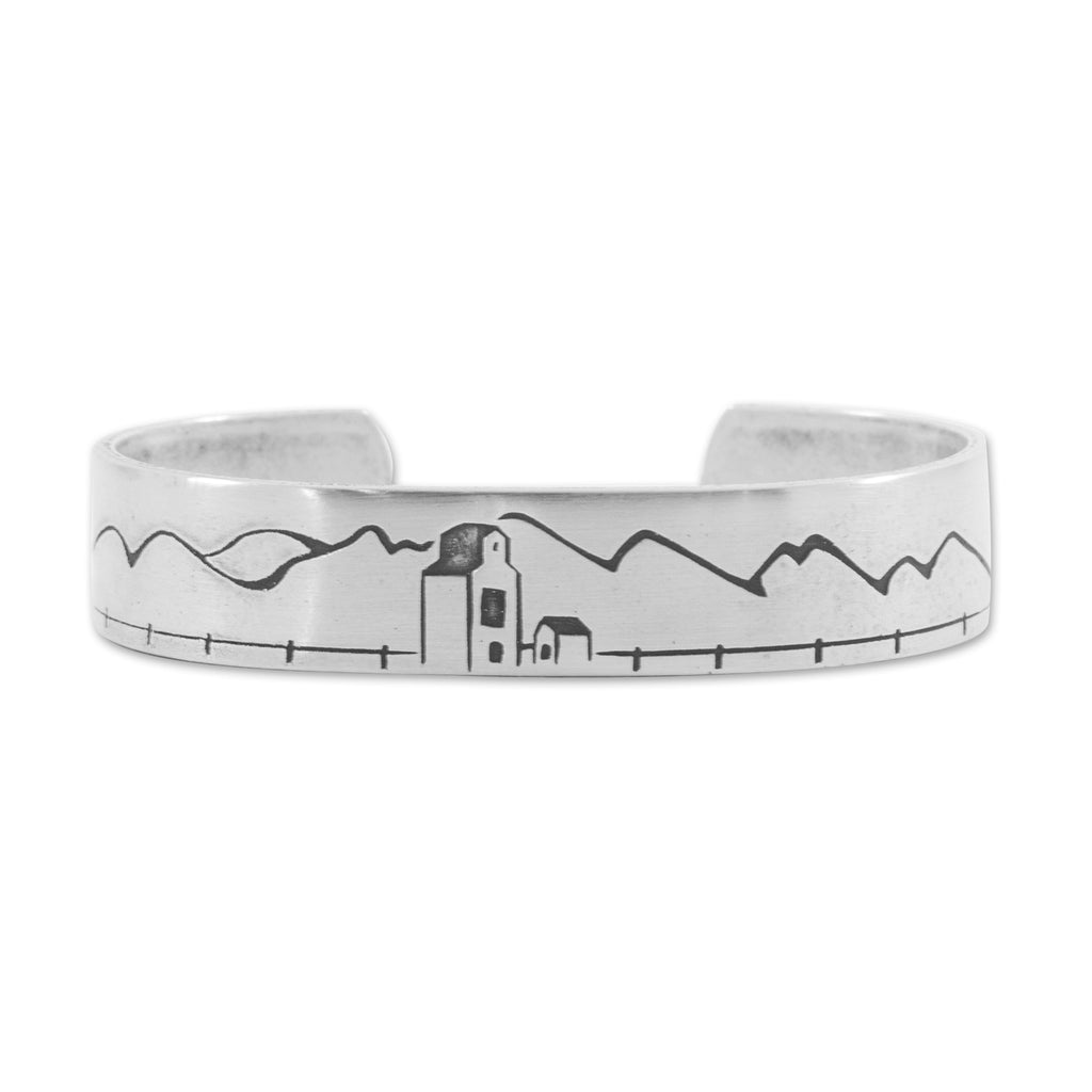 Grain Elevator On the Front Cuff Bracelet, Matte Silver / Women's, daphne lorna