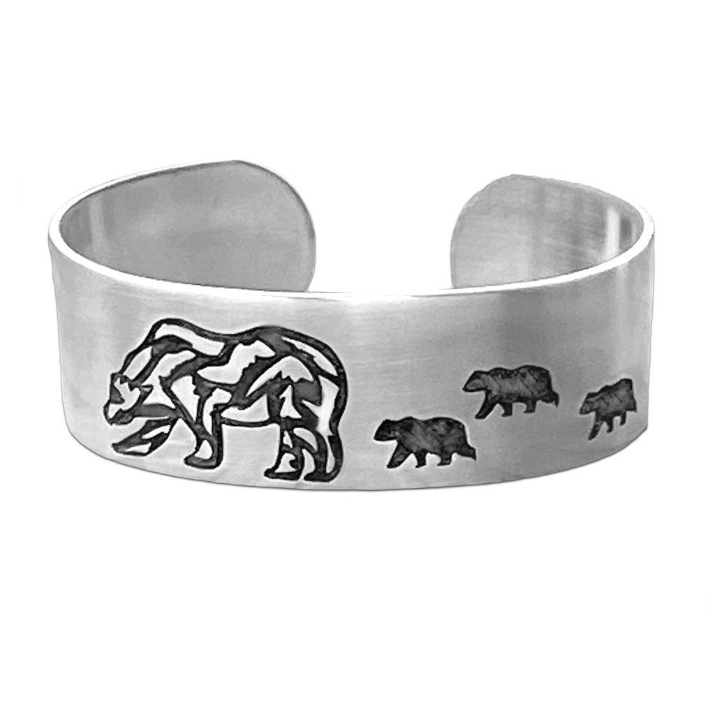 Rocky and Cubs Cuff Bracelet, Matte Silver, daphne lorna