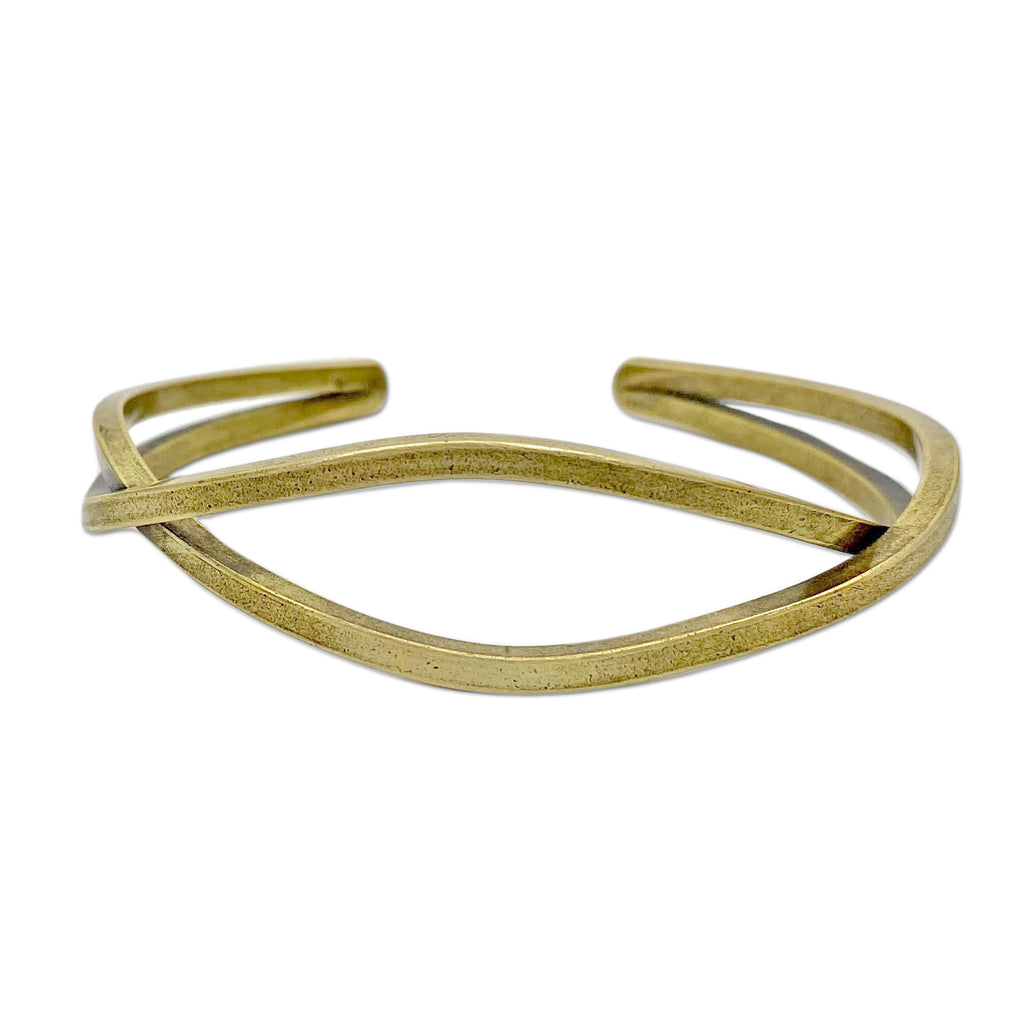 Criss Cross Cuff Bracelet, Antique Brass / Women's, daphne lorna