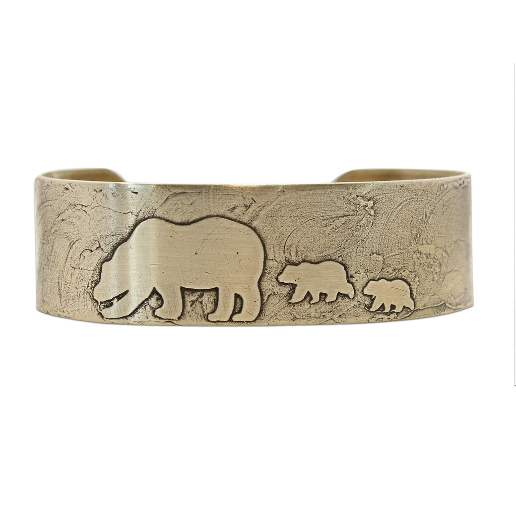 Mama and Cubs Cuff Bracelet, Antique Brass, daphne lorna