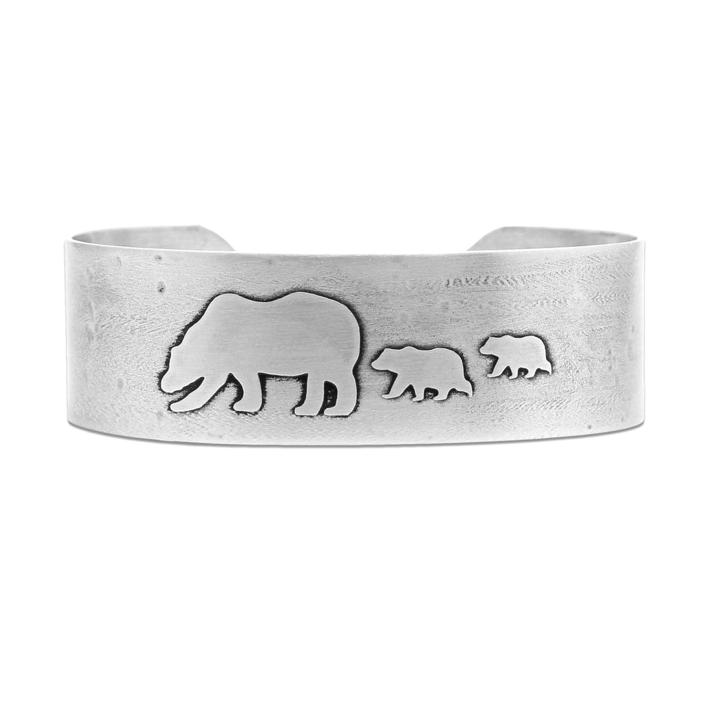 Mama and Cubs Cuff Bracelet, Matte Silver, daphne lorna