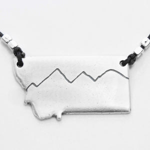 Simple Montana Necklace, Matte Silver / Cord, Daphne Lorna