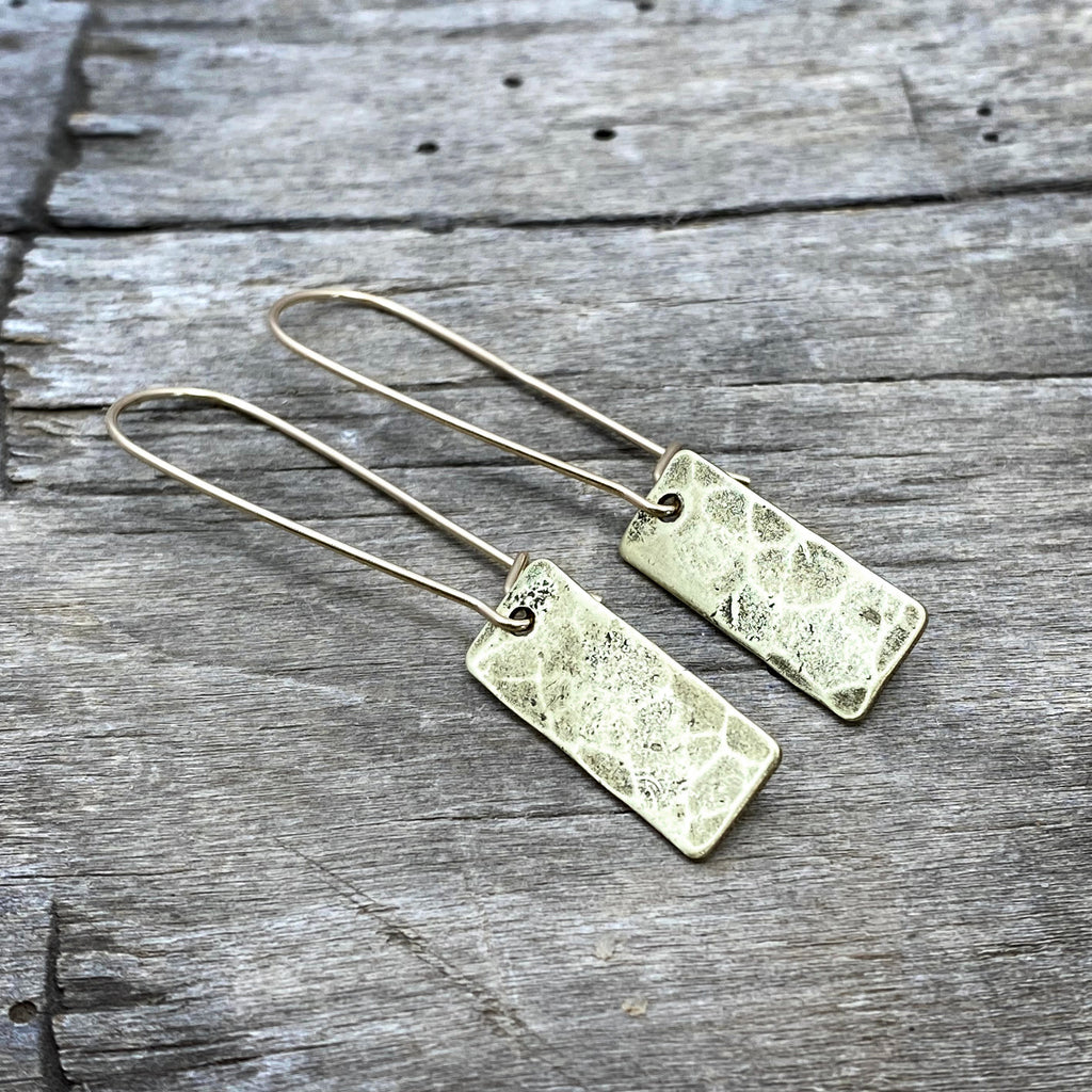 Rubble Rectangles Earrings, Antique Brass, daphne lorna