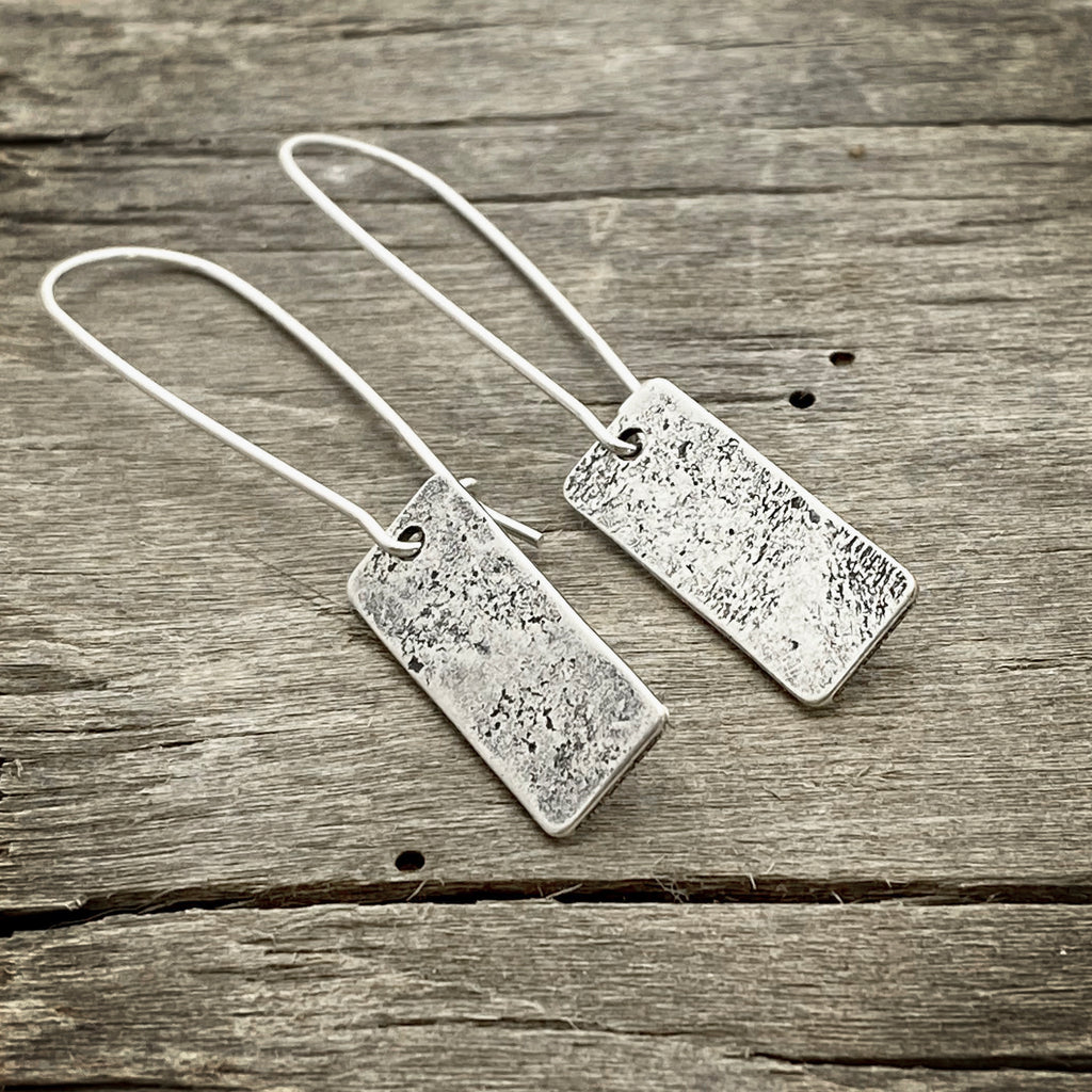 Rubble Rectangles Earrings, Matte Silver, daphne lorna