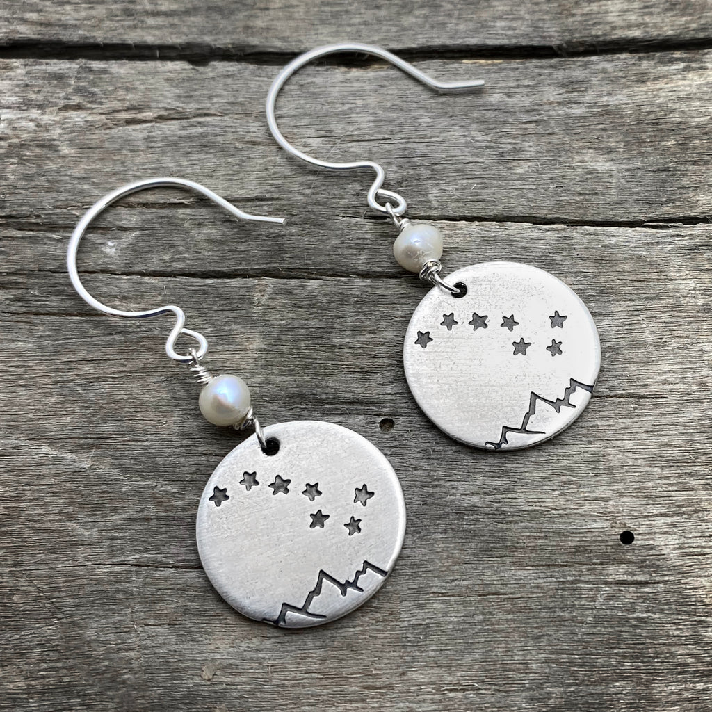 Big Dipper Earrings, Matte Silver, daphne lorna