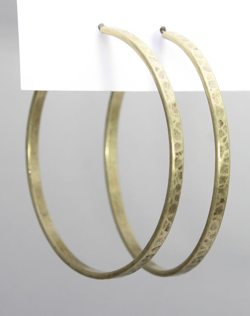 Simple Large Hoop Earrings, Antique Brass, Daphne Lorna