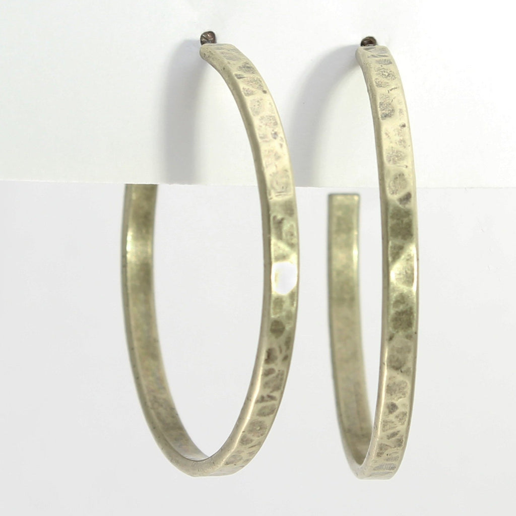 Simple Medium Hoop Earrings, Antique Brass, Daphne Lorna