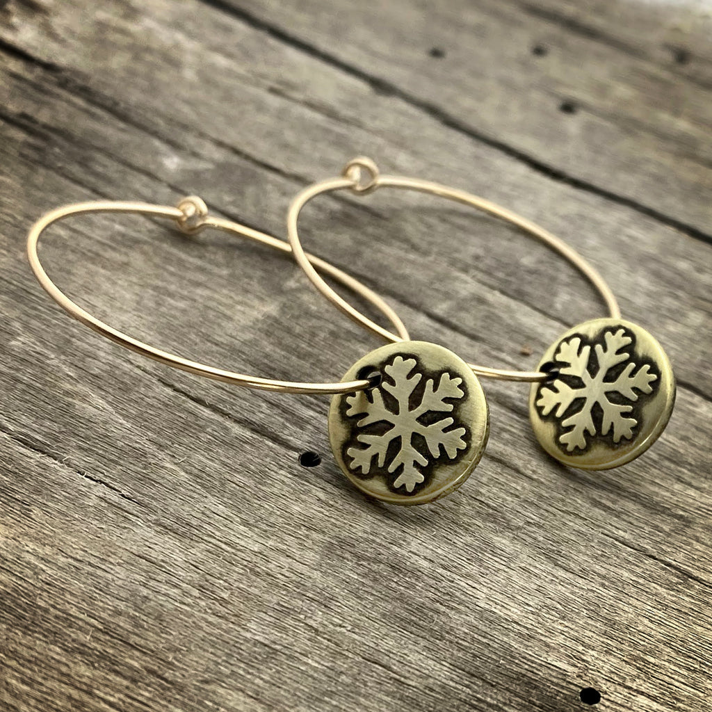 Snowflake Hoop Earrings, Antique Brass, daphne lorna