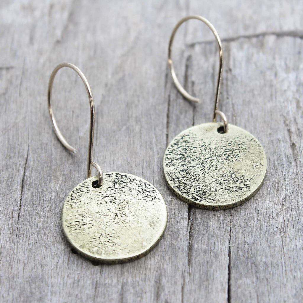 Moon Drops Earrings, Antique Brass, Daphne Lorna