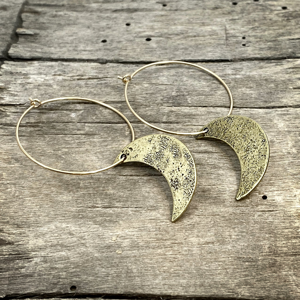 Crescent Moon Hoop Earrings, [variant_title], daphne lorna