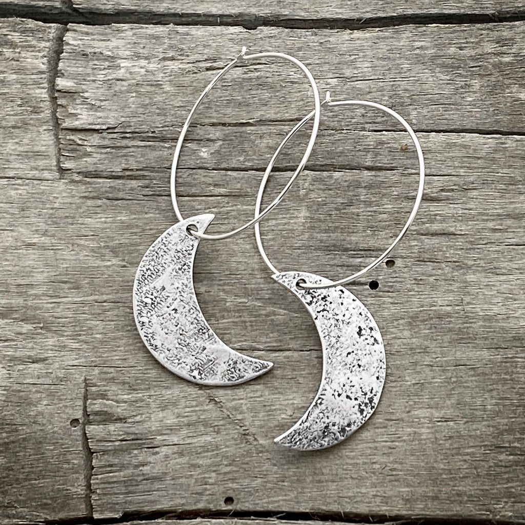 Crescent Moon Hoop Earrings, Matte Silver, daphne lorna