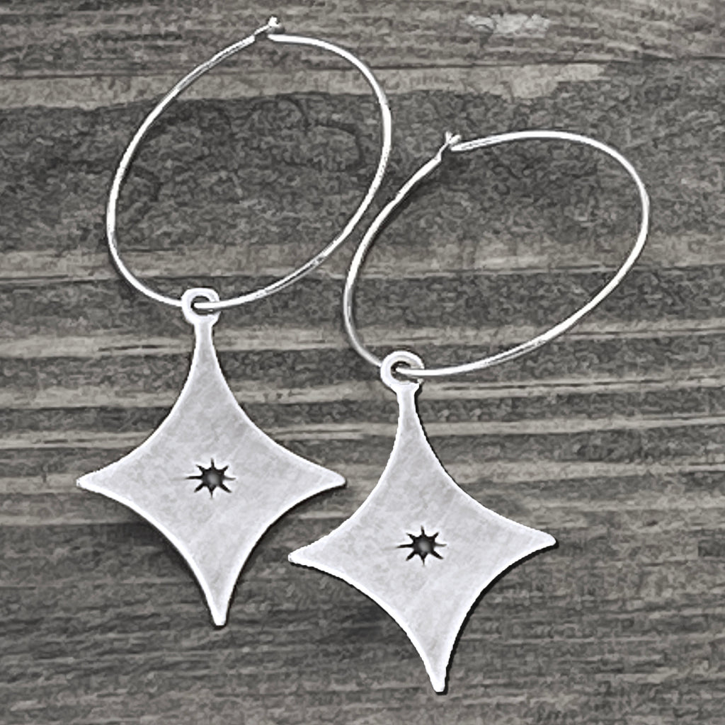 Starburst Hoop Earrings, Matte Silver, daphne lorna