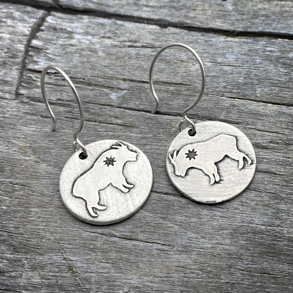 Billy Goat Earrings, Matte Silver, daphne lorna