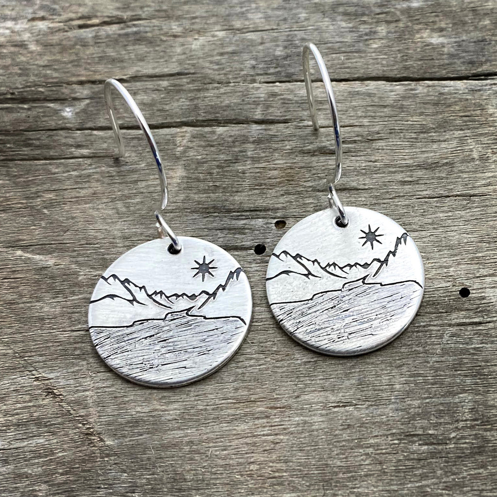 St. Mary Lake Earrings, Matte Silver, daphne lorna