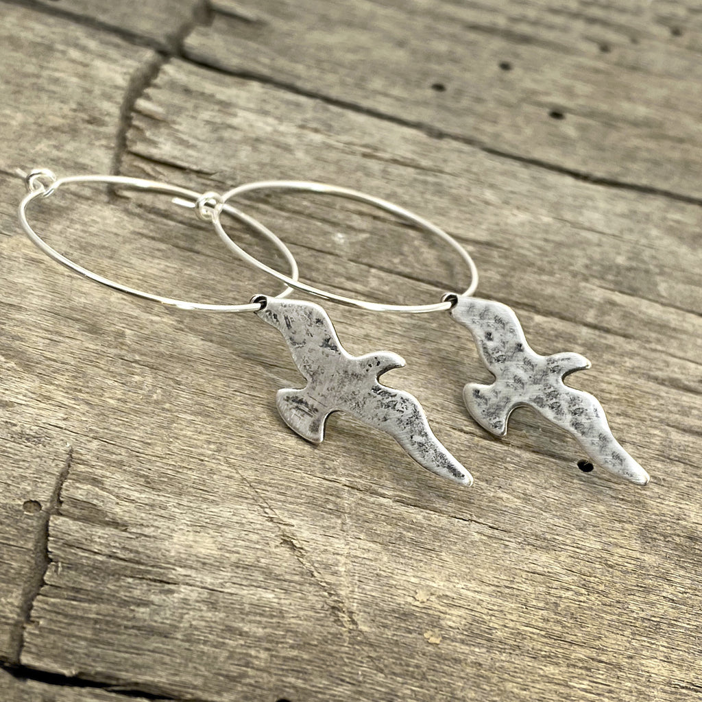 Birds on a Wire Hoop Earrings, Matte Silver, daphne lorna