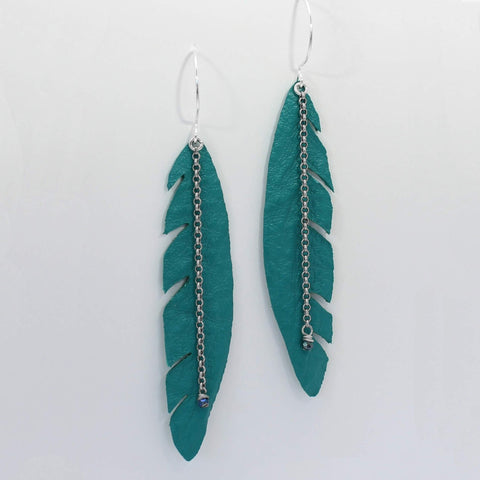 Wing Feather Leather Earrings