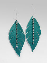 Plume Feather Leather Earrings, Creek Water, Daphne Lorna