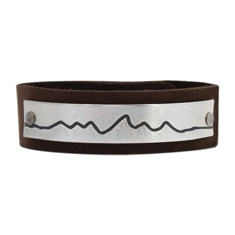 Wide Teton Leather Cuff Bracelet