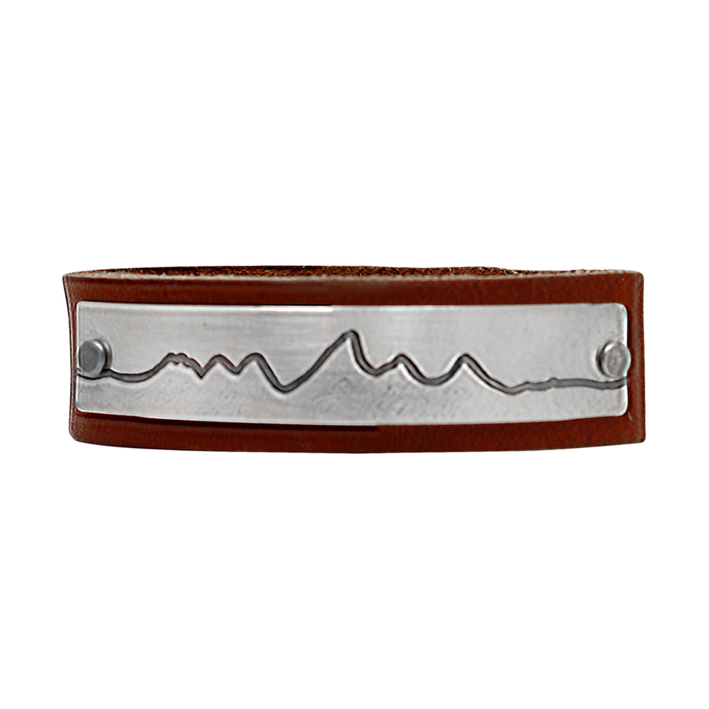 Wide Teton Leather Cuff Bracelet, Montana Whiskey / Matte Silver / Women's, daphne lorna