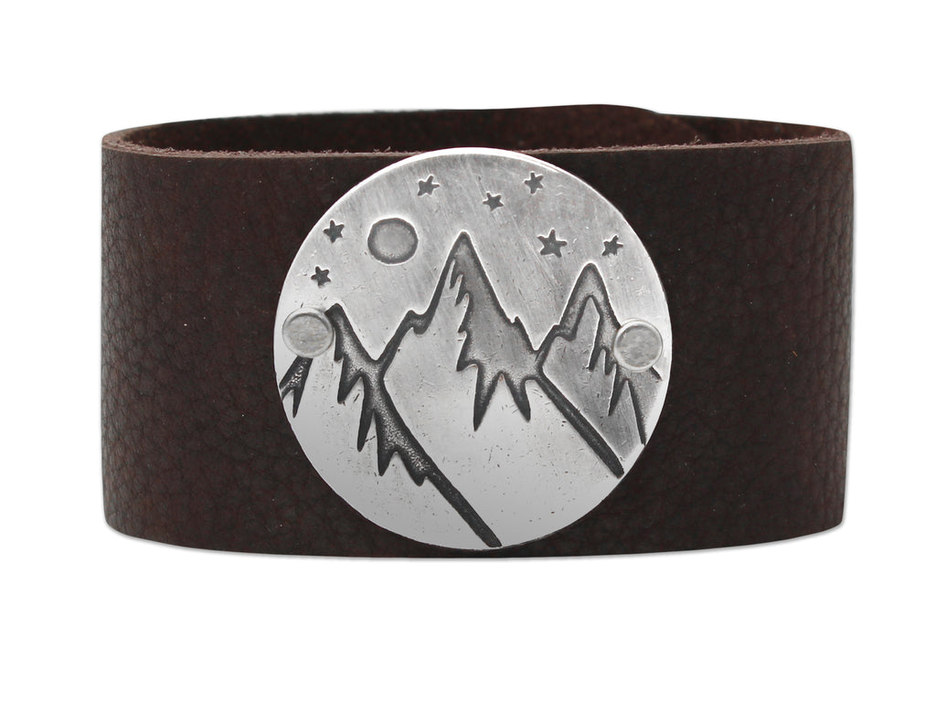 High Alpine Leather Cuff Bracelet, Espresso / Matte Silver / Women's, Daphne Lorna