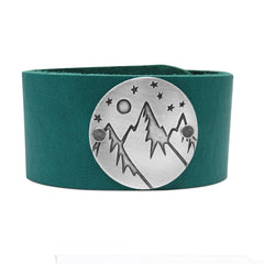 High Alpine Leather Cuff Bracelet - Daphne Lorna Jewelry