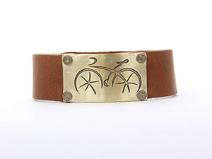 Ride Leather Cuff Bracelet, Montana Whiskey / Antique Brass / Women's, Daphne Lorna