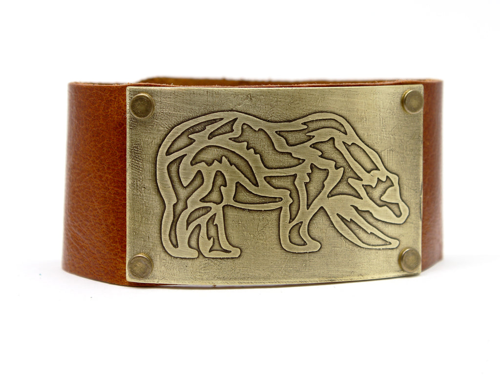 Rocky Bear Leather Cuff Bracelet, Creek Water / Antique Brass / Women's, Daphne Lorna