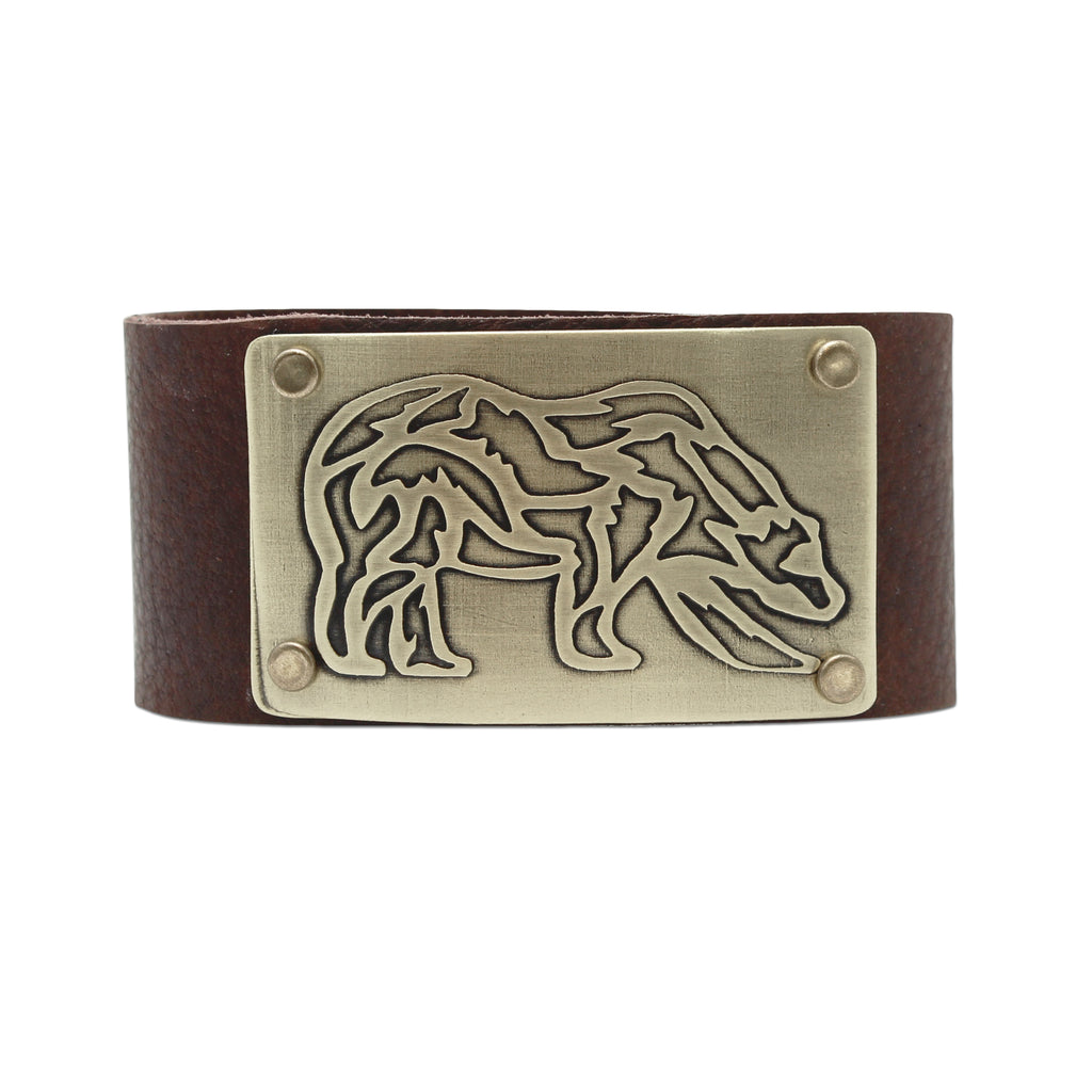 Rocky Bear Leather Cuff Bracelet, Espresso / Antique Brass / Women's, daphne lorna