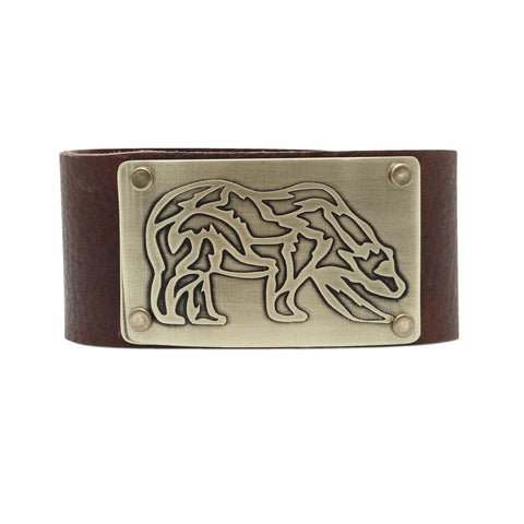 Rocky Bear Leather Cuff Bracelet