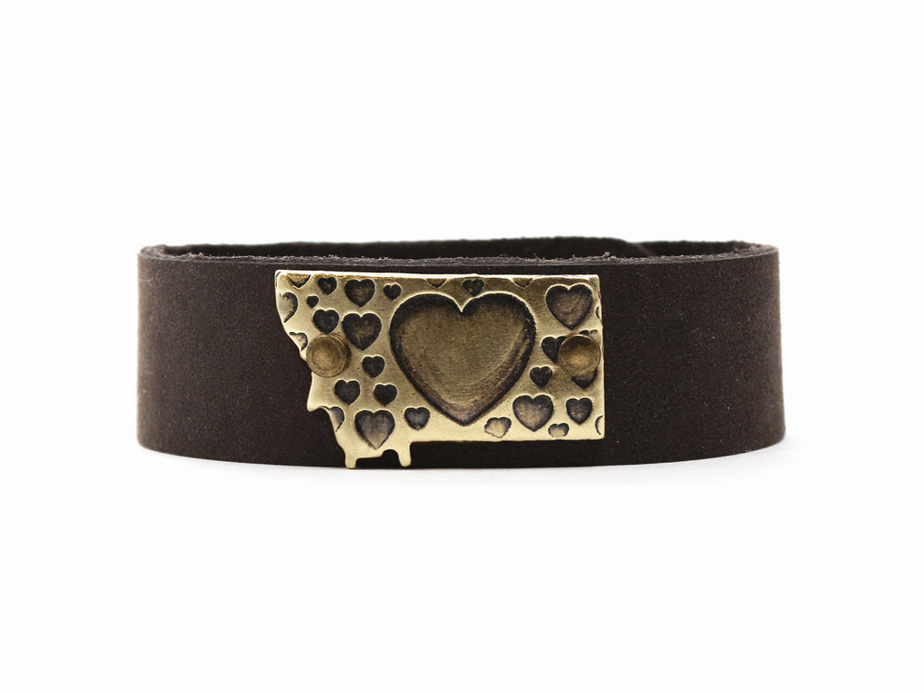 Whole Lotta Love - Montana Leather Cuff Bracelet, Espresso / Antique Brass / Women's, Daphne Lorna