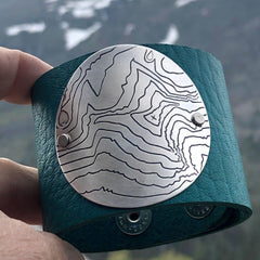 Rising Wolf Disk Leather Cuff, Creek Water / Matte Silver, Daphne Lorna