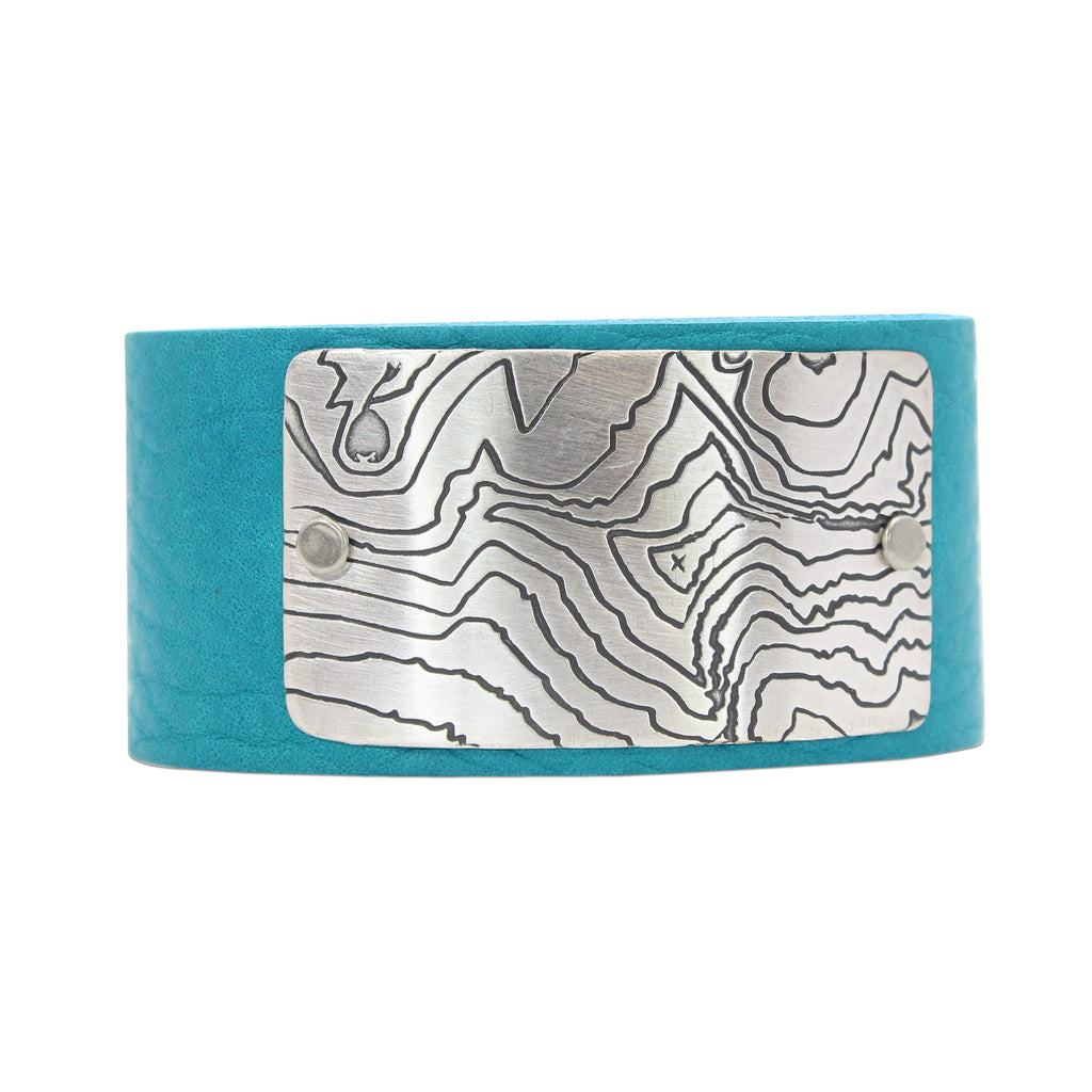 Rising Wolf Leather Cuff Bracelet, Creek Water / Matte Silver / Women's, daphne lorna