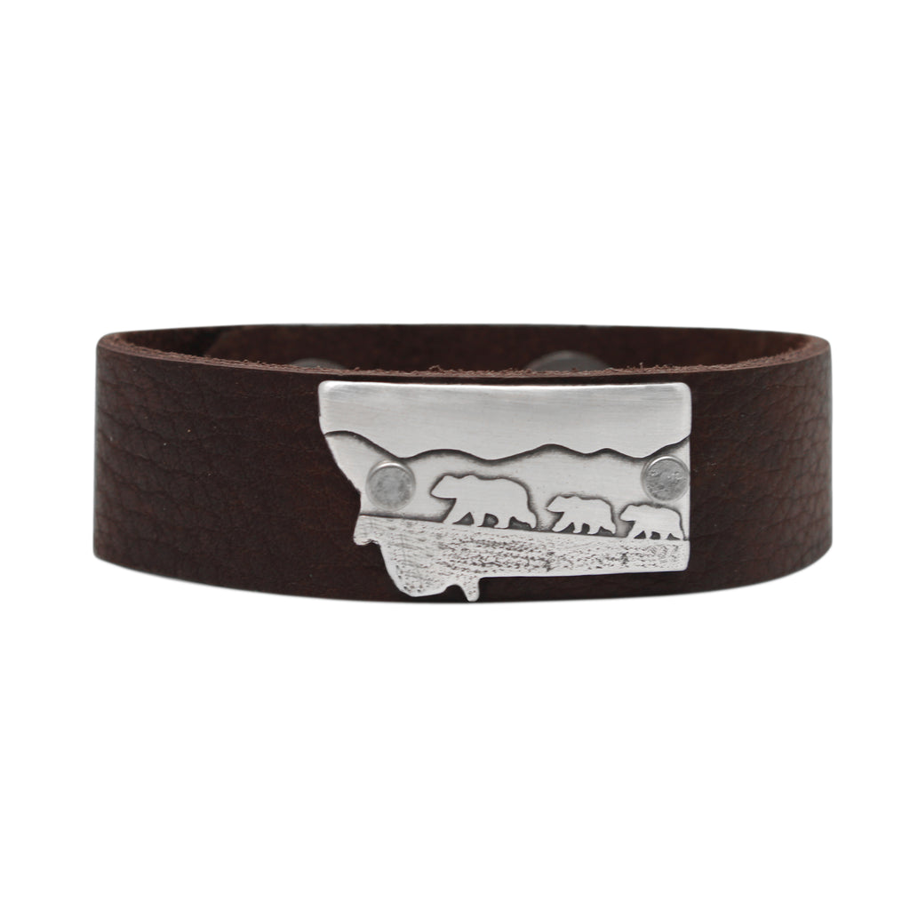 Mama and Cubs in Montana  Leather Cuff Bracelet, Espresso / Matte Silver / Women's, Daphne Lorna