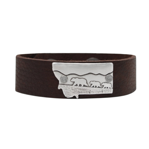 Mama and Cubs in Montana  Leather Cuff Bracelet