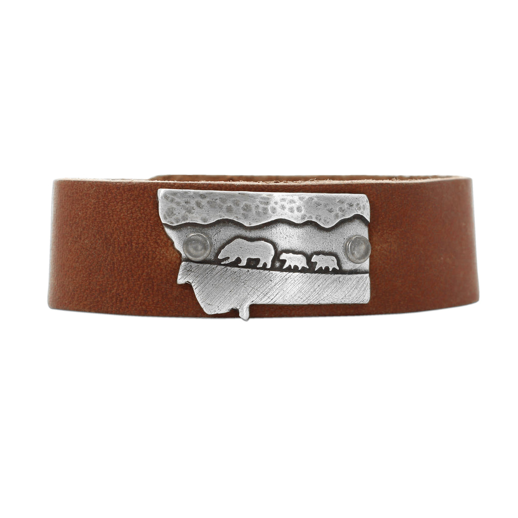 Mama and Cubs in Montana  Leather Cuff Bracelet, Montana Whiskey / Matte Silver / Women's, daphne lorna