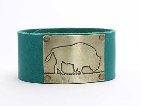 Roaming Bison Leather Cuff Bracelet