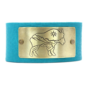 Mountain Goat in Glacier Park Leather Cuff, Creek Water / Matte Silver / Women's, Daphne Lorna